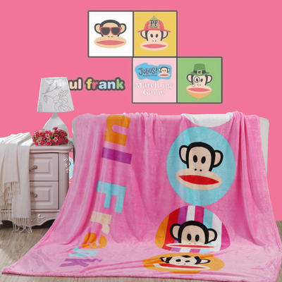 卡通定位独版法莱绒毯-200-230cm花色(卷边) 200*230cm(卷边) 快乐猴