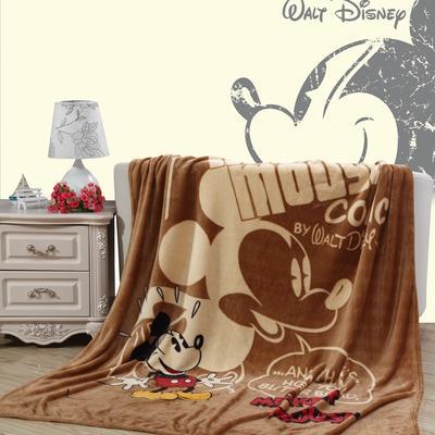 2018新款卡通定位独版法莱绒毯(卷边) 150*200cm(卷边) 棕色米奇