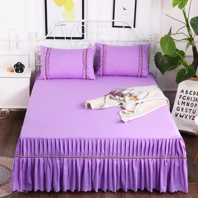 2018新款水洗磨毛单床裙 180*200+45cm 紫色