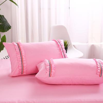 2018新款水洗磨毛单枕套 48cmx74cm/一对 粉红
