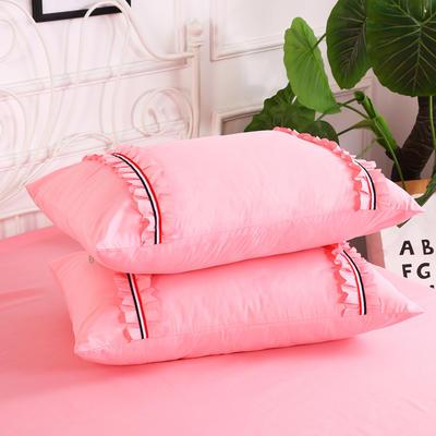 2018新款水洗磨毛单枕套 48cmx74cm/一对 粉玉