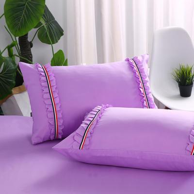 2018新款水洗磨毛单枕套 48cmx74cm/一对 紫色