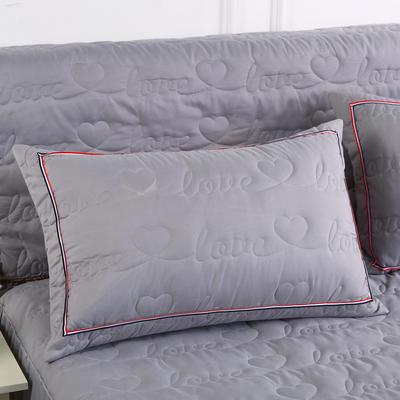 2018新款水洗磨毛夹棉枕套 48cmx74cm/一对 银灰