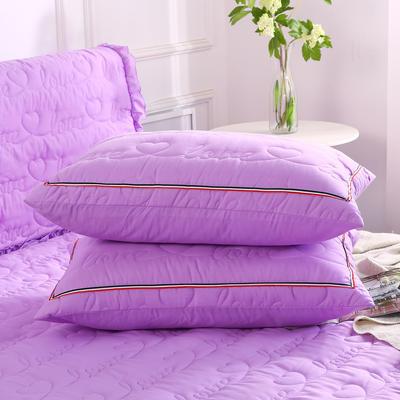 2018新款水洗磨毛夹棉枕套 48cmx74cm/一对 紫色