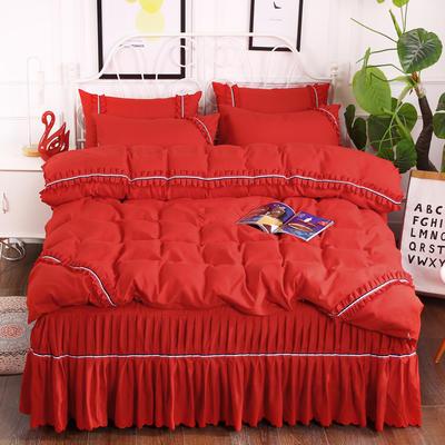 2018新款水洗磨毛单床裙四件套 1.5m(5英尺)床 大红