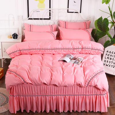 2018新款水洗磨毛单床裙四件套 1.5m(5英尺)床 粉玉