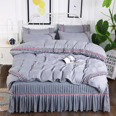 2018新款水洗磨毛单床裙四件套 1.5m(5英尺)床 银灰