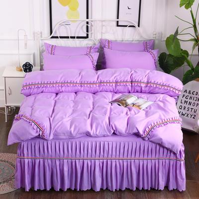 2018新款水洗磨毛单床裙四件套 1.5m(5英尺)床 紫色