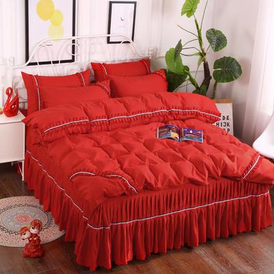 2018新款水洗磨毛夹棉床裙四件套 1.5m(5英尺)床 大红