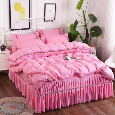 2018新款水洗磨毛夹棉床裙四件套 1.5m(5英尺)床 粉红