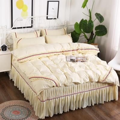2018新款水洗磨毛夹棉床裙四件套 1.5m(5英尺)床 米黄