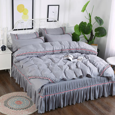 2018新款水洗磨毛夹棉床裙四件套 1.5m(5英尺)床 银灰
