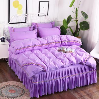 2018新款水洗磨毛夹棉床裙四件套 1.5m(5英尺)床 紫色