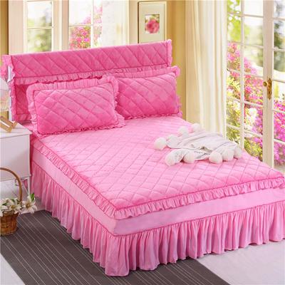 2018新品法莱绒夹棉床裙 150*200+45cm 粉红色