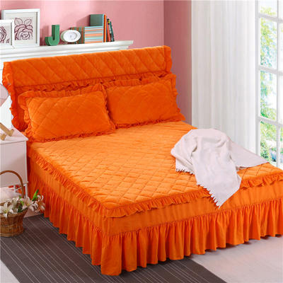 2018新品法莱绒夹棉床裙 150*200+45cm 橘黄色