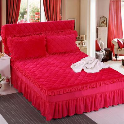 2018新品法莱绒夹棉床裙 150*200+45cm 玫红色