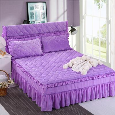 2018新品法莱绒夹棉床裙 150*200+45cm 浅紫色