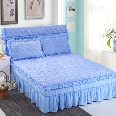 2018新品法莱绒夹棉床裙 150*200+45cm 天蓝色
