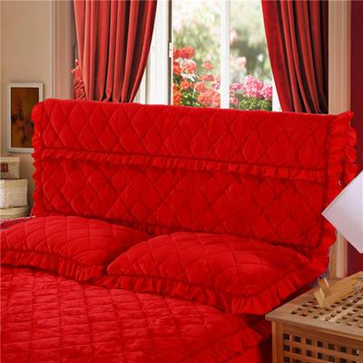 2018新品法莱绒夹棉床头罩 120*55cm 大红色