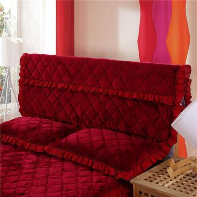 2018新品法莱绒夹棉床头罩 120*55cm 酒红色