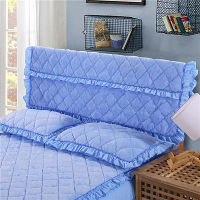 2018新品法莱绒夹棉床头罩 120*55cm 天蓝色