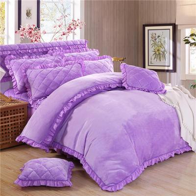 2018新品法莱绒四件套(普通被套) 1.2m床 浅紫色