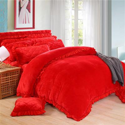2018新品法莱绒四件套(普通被套) 1.2m床 大红色