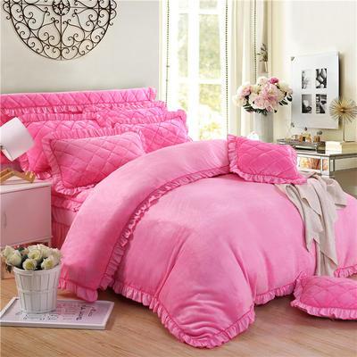 2018新品法莱绒四件套(普通被套) 1.2m床 粉红色