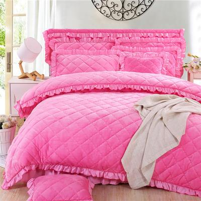 2018新品法莱绒四件套(夹棉被套) 1.2m床 粉红色