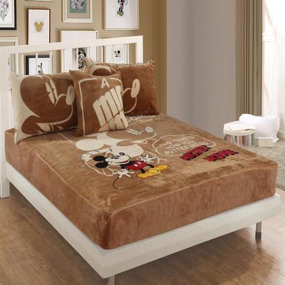 独版法莱绒卡通单床笠 150*200cm 棕色米奇