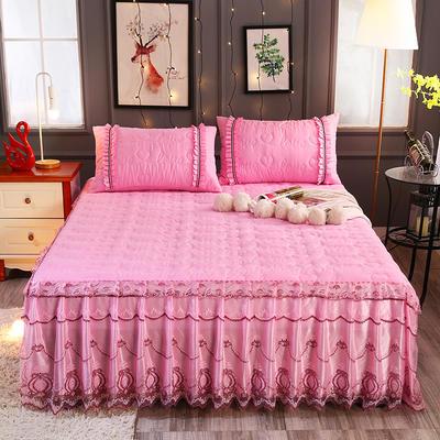 新款夹棉蕾丝床裙(典雅) 120*200+45cm 粉色