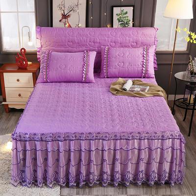 新款夹棉蕾丝床裙(典雅) 120*200+45cm 紫色
