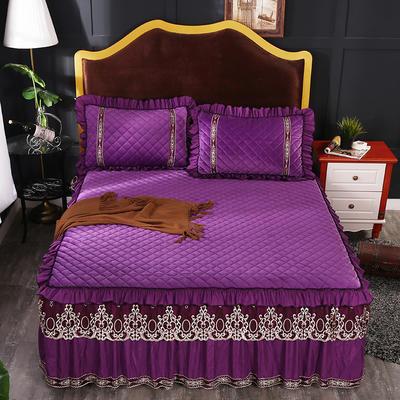 2018新款水晶绒夹棉床裙 120*200+45cm 魅紫