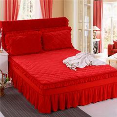 2018新款单品法莱绒床裙 120*200+45cm 床裙 大红色