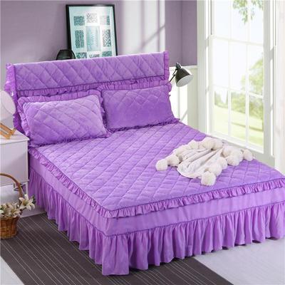 2018新款单品法莱绒床裙 120*200+45cm 床裙 浅紫色
