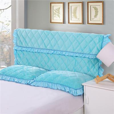 2018新款单品法莱绒夹棉床头罩 120cm*55cm 床头罩 湖蓝色