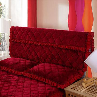 2018新款单品法莱绒夹棉床头罩 120cm*55cm 床头罩 酒红色
