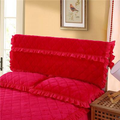 2018新款单品法莱绒夹棉床头罩 120cm*55cm 床头罩 玫红色