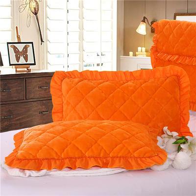 2018新款单品法莱绒枕套 48cmX74cm/对 橘黄色
