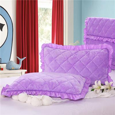 2018新款单品法莱绒枕套 48cmX74cm/对 浅紫色