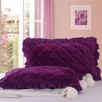 2018新款单品法莱绒枕套 48cmX74cm/对 紫罗兰
