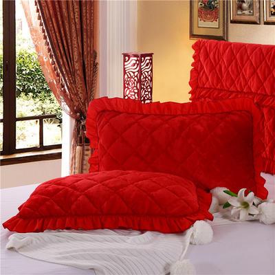 2018新款单品法莱绒枕套 48cmX74cm/对 大红色