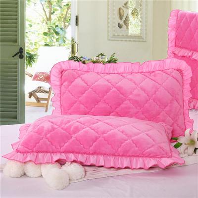2018新款单品法莱绒枕套 48cmX74cm/对 粉红色