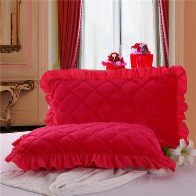 2018新款单品法莱绒枕套 48cmX74cm/对 玫红色