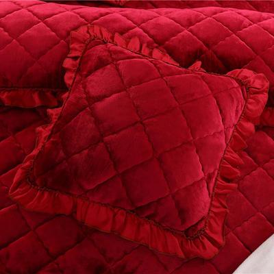 2018新款单品法莱绒方垫套 48x48cm/对 酒红色