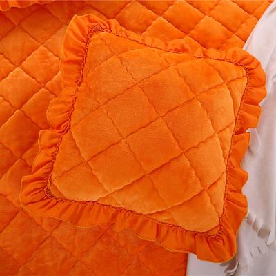 2018新款单品法莱绒方垫套 48x48cm/对 橘黄色