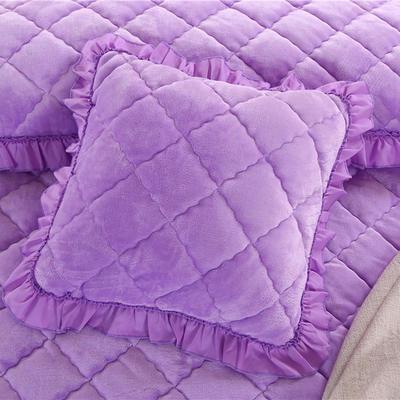 2018新款单品法莱绒方垫套 48x48cm/对 浅紫色