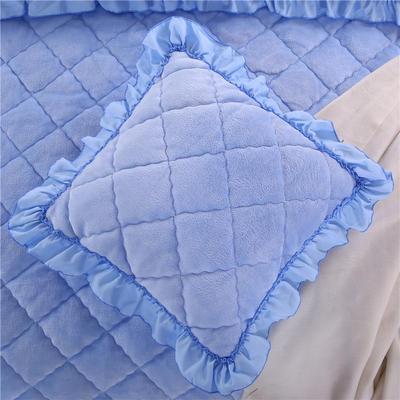 2018新款单品法莱绒方垫套 48x48cm/对 天蓝色