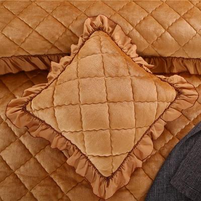 2018新款单品法莱绒方垫套 48x48cm/对 驼色