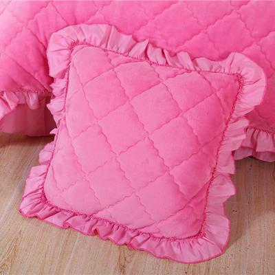 2018新款单品法莱绒方垫套 48x48cm/对 粉红色